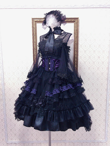 TIERED SIDE TAIL VERY SHORT CORSET (BKACK×PURPLE)