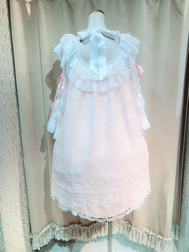Flower Lace Choker Dress(PINK×WHITE)