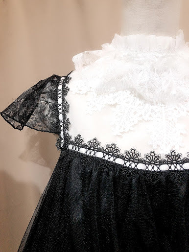 CROCHET LACE ANGEL WING DRESS (BLACK×WHITE Plain ver.)