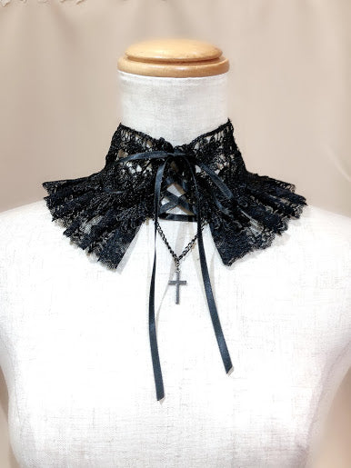 LACE UP CROSS CHOKER(BLACK)