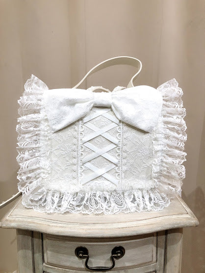 FRILL LACE RIBBON RUCK SACK (WHITE)