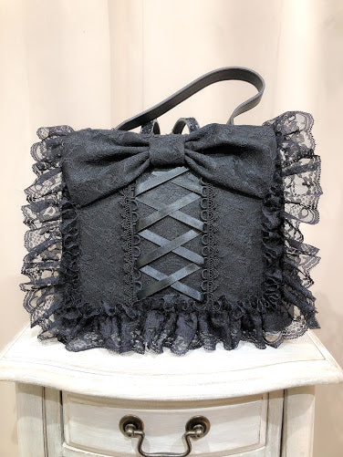 FRILL LACE RIBBON RUCK SACK (BLACK)