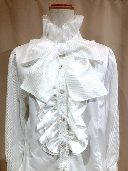 FRILL STAND COLLAR LONG CUFFS BLOUSE (WHITE)