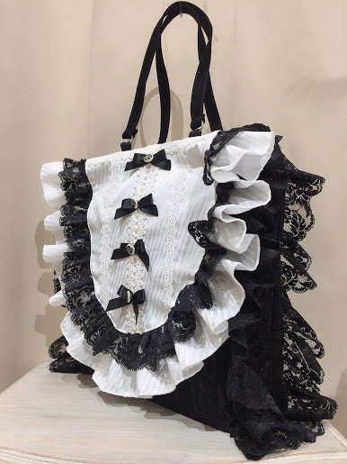 MINI RIBBON FRILL TOTEBAG (BLACK-WHITE)