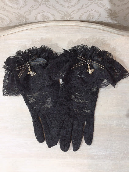 GLOVES WITH BUTTERFLY CHARM (BLACK×GOLD)