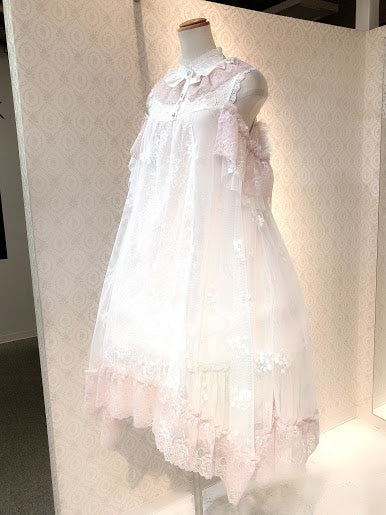FRILL STAND COLLAR ANGEL WING DRESS