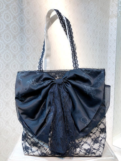 RIBBON CANVAS TOTE BAG(BLACK)