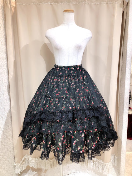BLOOMING LITTLE ROSE SKIRT (BLACK)