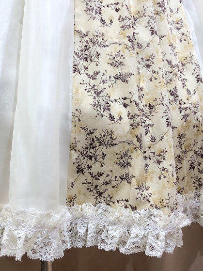 FLOWER PRINT DRESS & CUFFS (BEIGE)