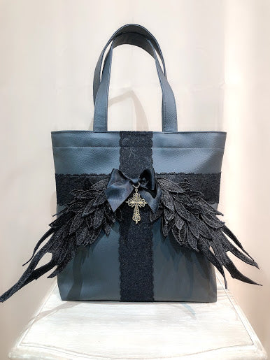 WING×CROSS SYNTHETIC LEATHER TOTE BAG(BLACK)