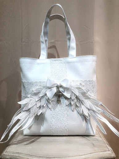 WING×CROSS SYNTHETIC LEATHER TOTE BAG(WHITE)