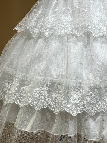 TIERED LACE INNOCENT SKIRT (WHITE)