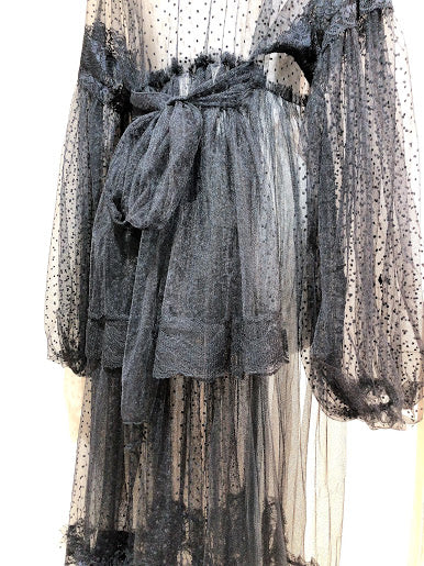 DOT TULLE DRESS ROBE (BLACK)