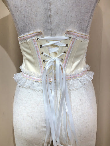 TYROLEAN LACE VERY SHORT CORSET(IVORY×PINK)