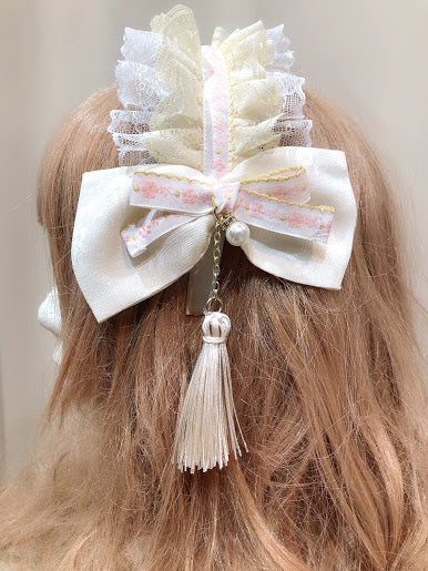 TYROLEAN LACE HEAD BAND (IVORY×PINK)