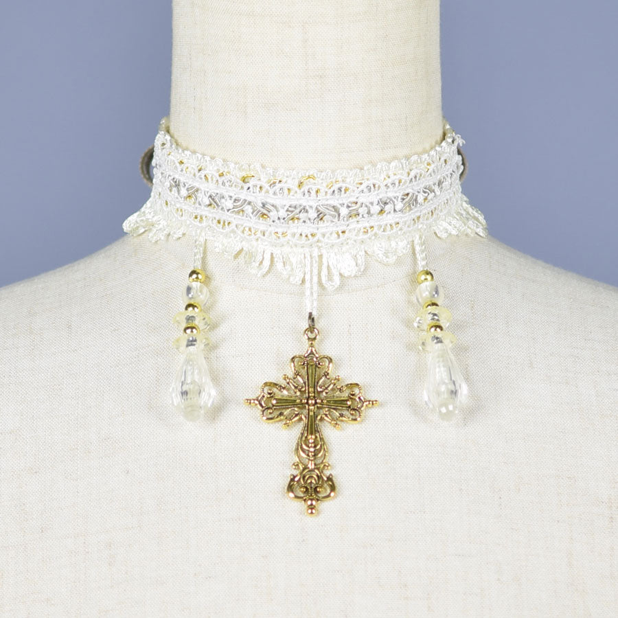 CROSS & BEADS CHOKER