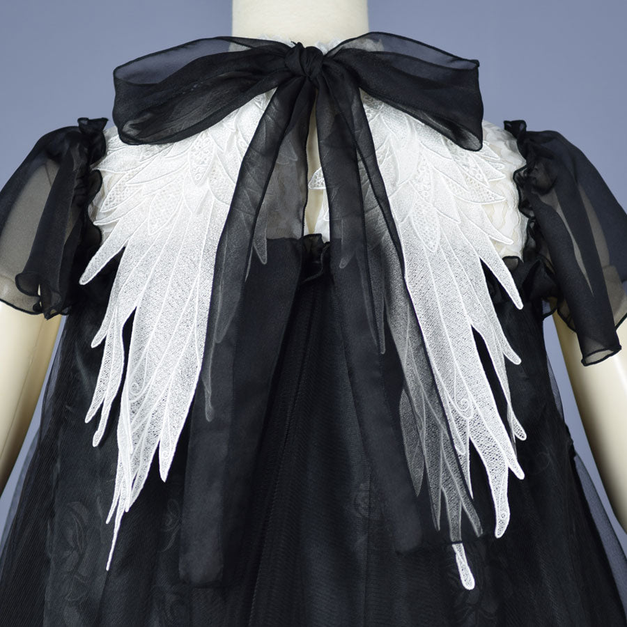 ANGEL WING LACE UP DRESS(BLACK×WHITE)