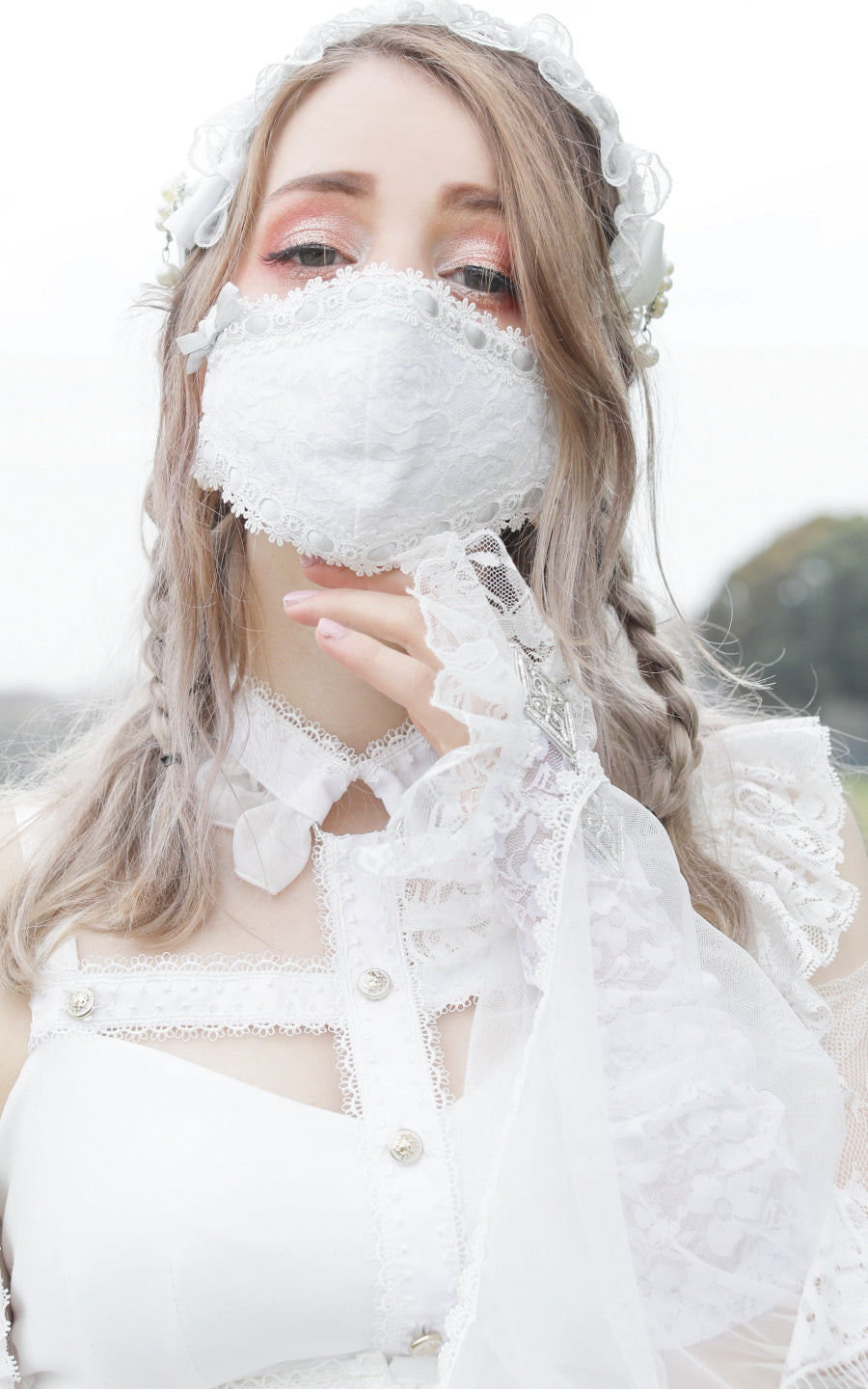 LACE FASHION  MASK ( WH  / PK )