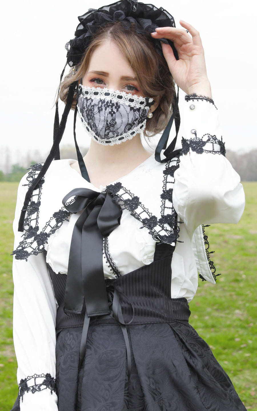 LACE FASHION  MASK(BK   WH×BK)