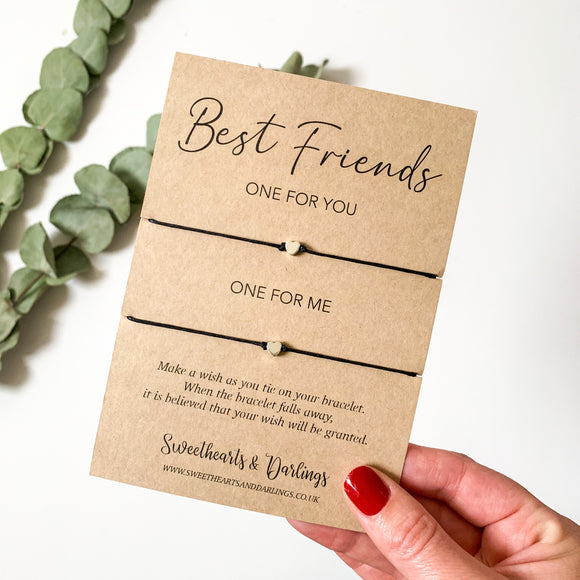 'Best Friends, One for me and One for you' - Double wish bracelet
