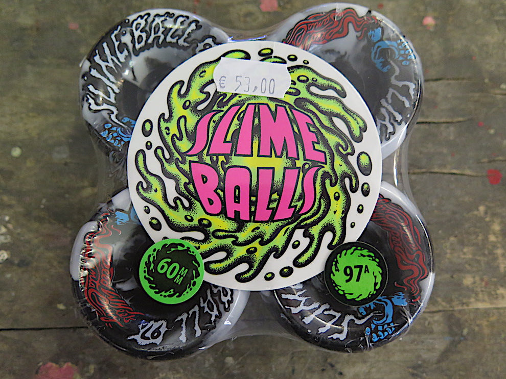 Set- Santa Cruz Wheels- Slime Bolds- black white swirl- 60mm/97A