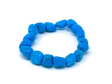 Load image into Gallery viewer, Mineral Chunk Bracelet — Blue Dyed Howlite