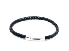Load image into Gallery viewer, Stainless Clasp Leather Bracelet — Black