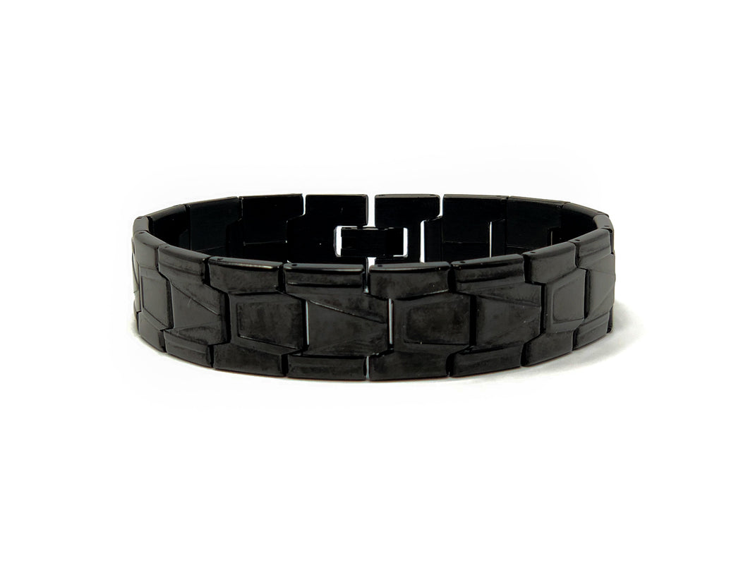 Men's Stainless Steel Black Carbon-Plated