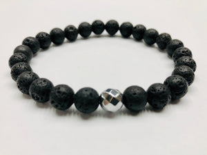 Fancy Mineral Stretch Bracelet — Lava Stone