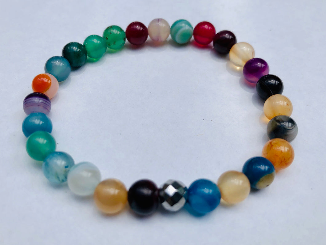 Multi-Colour Glass Mineral Bracelet