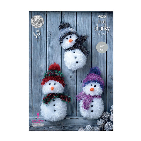 Knitting Pattern: Snowmen in Tinsel Chunky Yarn