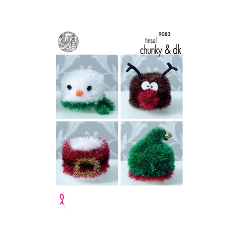 Knitting Pattern: Christmas Toilet Roll Covers in Tinsel Chunky Yarn