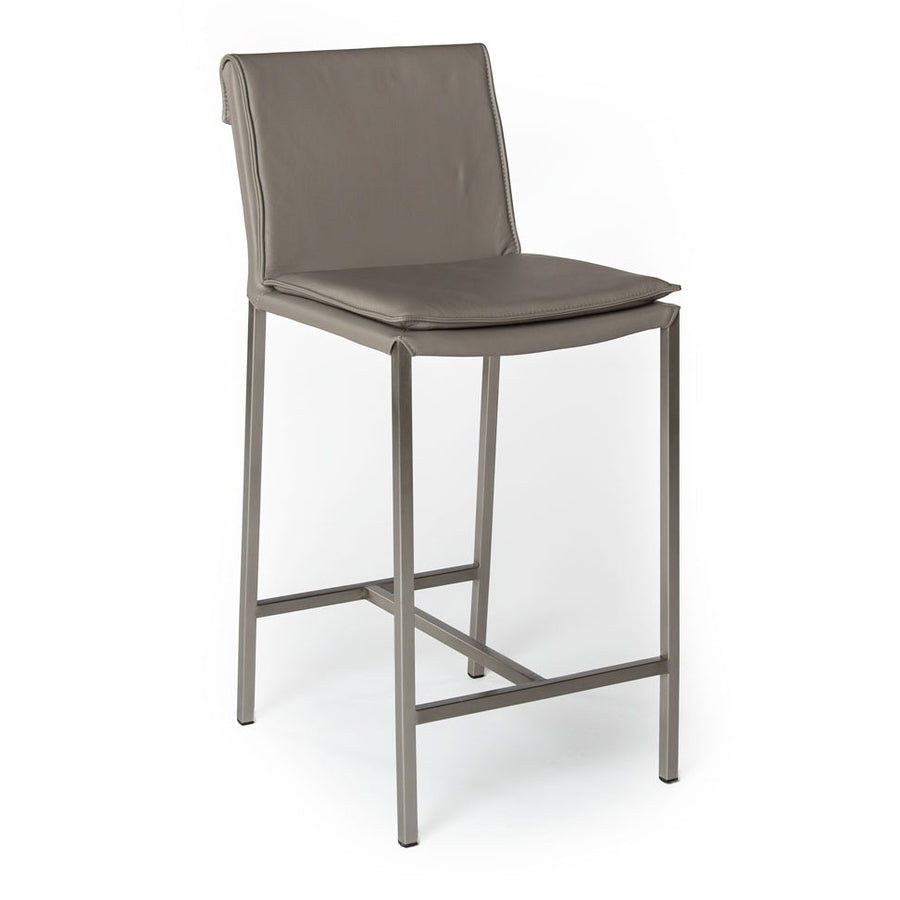 HAMILTON | Counter Stool - Real Leather Dark Grey