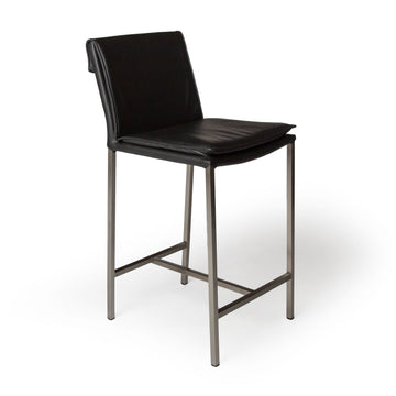 HAMILTON | Counter Stool - Real Leather Black
