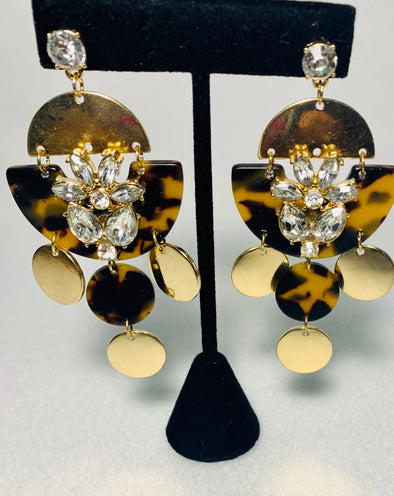 Tortoise Gold Rhinestone Earrings