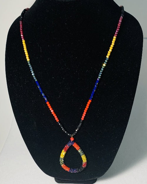 Sparkle Multicolor Teardrop Necklace