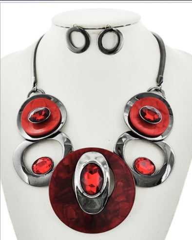 Ruby Red Circular Necklace