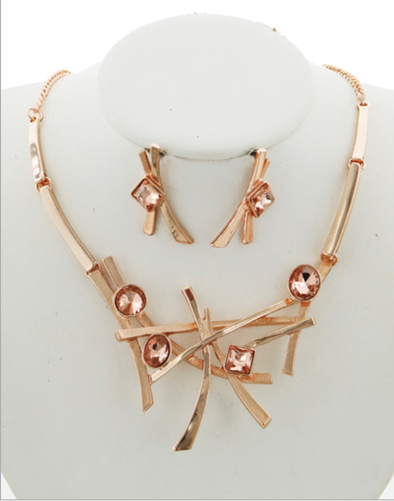 Topaz Glass Rose Gold Statement Necklace