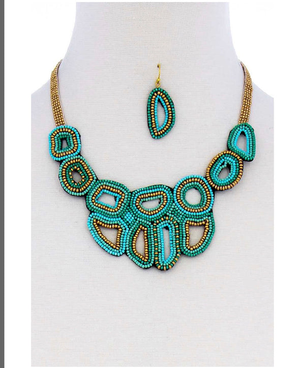 Turquoise Sea Bead Necklace