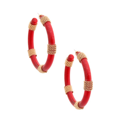 Ruby Chained Hoops