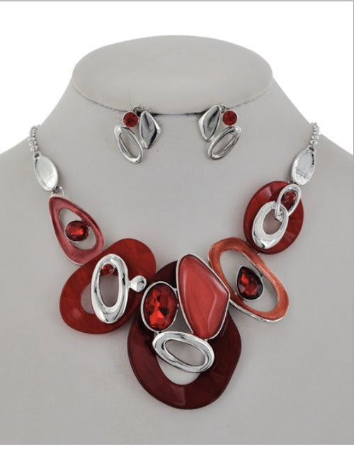 Red and Silver Acrylic Glass Necklace
