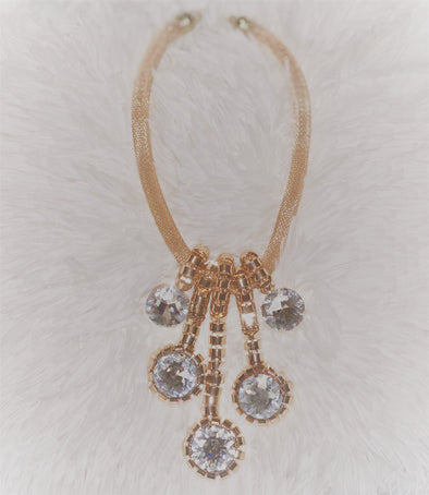 Rhinestone Droplet Necklace