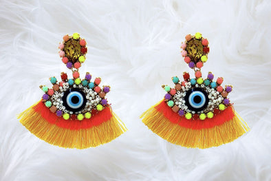 Yellow Fringe Beaded Eye Earrings