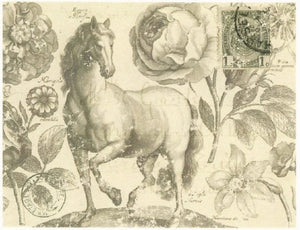 Botanical Equine Decoupage Sheet
