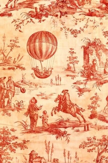 Red Toile Decoupage Sheet  -  February 2021 Release