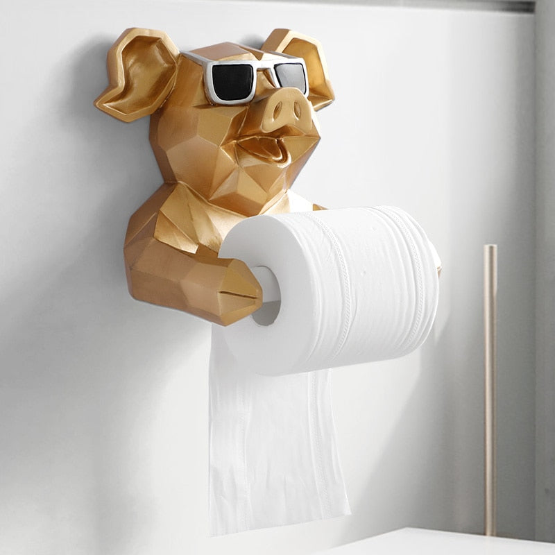 Pig Statue Toilet Paper Roll Holder - Decointeriors