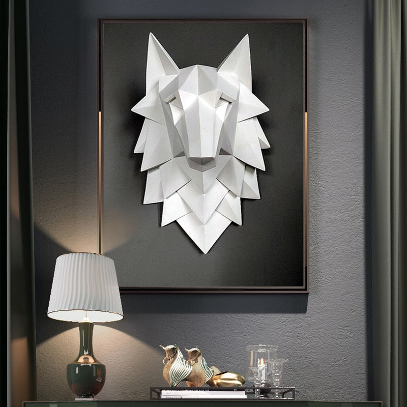 WOLF HEAD Statue Wall Sculpture - DECOINTERIORS