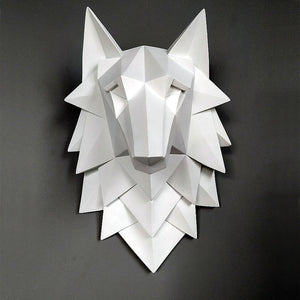 White WOLF HEAD Statue Wall Sculpture - DECOINTERIORS