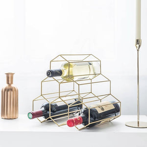 Gold 6 Bottle Tabletop Wine Bottle Rack - DECOINTERIORS