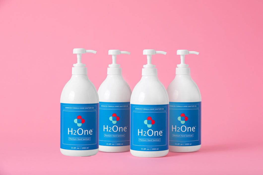 H2One Awakening Citrus Hand Sanitizer Gel | 4 Pack | 1000 ML 75 Percent Ethyl Alcohol (Ethanol)
